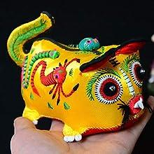 TWDYC Tigre Folk Crafts Tigre Almohada bebé Tradicional característico Bordado de Tela Hecha a Mano de Tela (Color : Yellow)