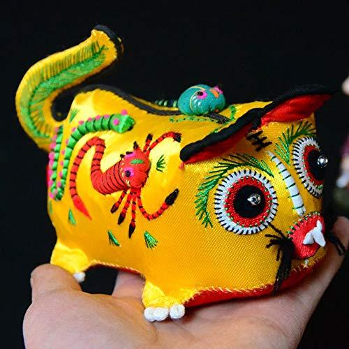 TWDYC Tigre Folk Crafts Tigre Almohada bebé Tradicional característico Bordado de Tela...