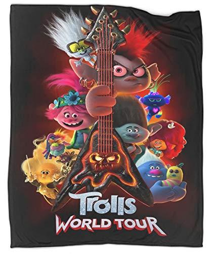 MRFSY Manta moderna Trolls World Tour - Sofá de guitarra ultra lujoso, cálido y acogedor para todas las estaciones 40 x 50 pulgadas