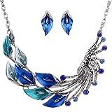 YAZILIND Ethnic Style Blue Peacock Chunky Bib Earrings Necklace Set Wedding Party