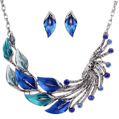 Yazilind ethnische Art Tibetan Silber Blau Pfau-Kristall Chunky Bib Halskette Ohrringe Set Hochzeit
