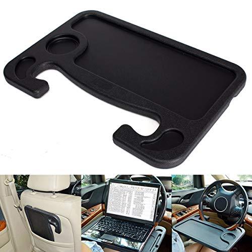 OYWNF Auto Laptop Notebook Stand scrivania Volante Tavolo Vassoio Mensole Alimentari Supporto della Bevanda Monte On Volante/Assistente Sedile (Color : Black)