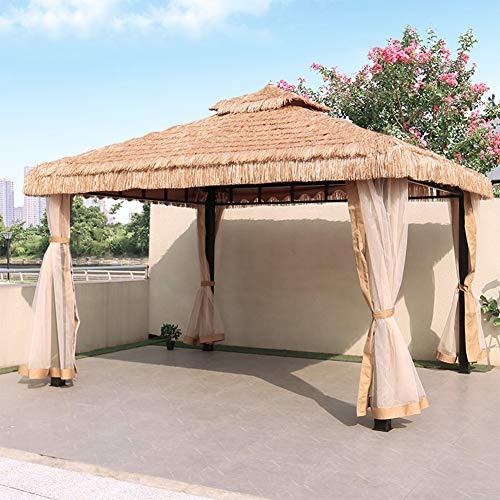 ZYFWBDZ Gazebo de Techo de Paja Doble Hawaiano para jardín, Marco de Aluminio con mosquitero y protección para el Sol en Las Paredes Laterales,3X3M