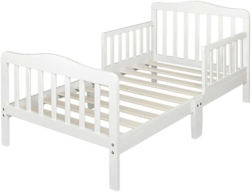 Bonnlo Contemporary Wooden Toddler Bed Sturdy Bedframe With Guard Rail Bedroom Furniture For Kids Children White