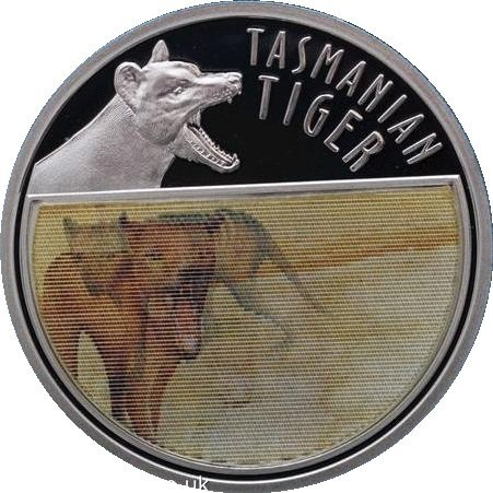 2011l' ultimo Niue Tasmanian Tiger olografico argento moneta in scatola con certificato di autenticità