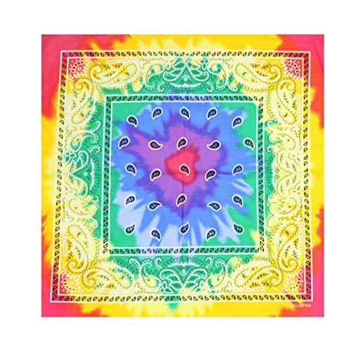 Asudaro – Bandana unisex – Pañuelo de cabeza 100 % algodón – Pañuelo para el cuello – bufanda para el cuello – Pañuelo para la muñeca – Envoltorio de 55 x 55 cm Morado y amarillo. talla única