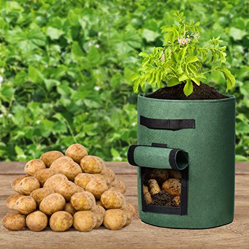 Delxo 5 Pack 7加仑马铃薯种植袋两侧玻璃窗蔬菜生长袋,双层优质透气非织造布用于土豆/厂家/曝气织物盆配手柄(绿色)