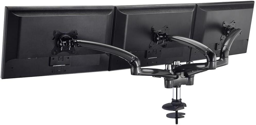 Cotytech DM-GMT13-G Triple Monitor Desk Mount Spring Arm Grommet Base - Dark Gray