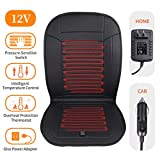 LARROUS Leather Car Heated Seat Cushion with Pressure-Sensitive Switch and Overheat Protection Thermostat,with Power Adapter,Heating Pad for Truck,Office Chair,Home,etc.(12Volt,Black)