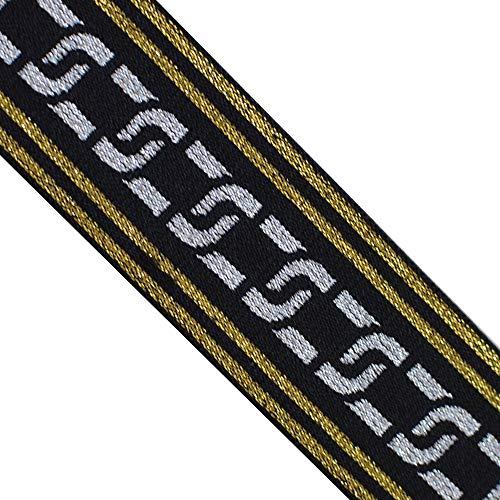 EB 4002 Jacquard Elastic Glitter Silver Celtic Gold Edges Band Webbing Trim, 1-9/16' (40mm) 5 Yards, DIY Sewing Crafting, Belts, waistbands