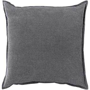 Surya CV003-2222D Down Fill Pillow, 22 by 22-Inch, Charcoal