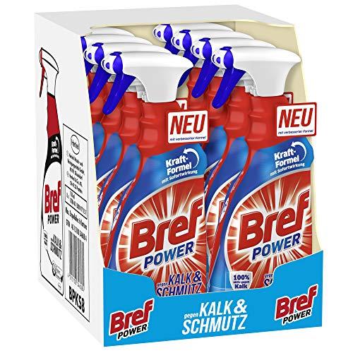 Bref Power gegen Kalk und Schmutz, Kalkreiniger, (8er Pack 8 x 750 ml), Sprühflasche, für hygienische Sauberkeit