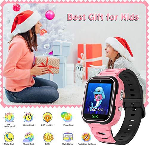 Kinder SmartWatch Phone Smart Watch mit Wasserdicht IP67 LBS SOS Voice Chat Kamera Armbanduhr für Jungen Mädchen Student Geschenk (Rosa)