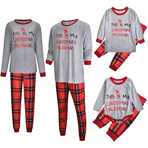 Navidad Pijamas Dos Piezas con Estampado Padres e Hijos Pijamas Navideños Familiares Tops y Pantalones Conjunto Padre-Hijo Fiesta de Pijamas (3 años, Niño/Niña)