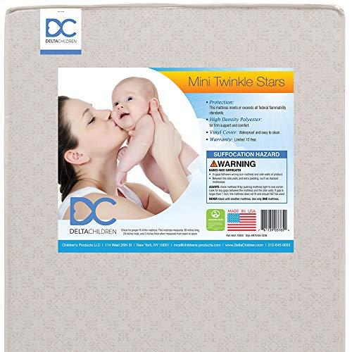 Delta Children Twinkle Stars 3-Inch Premium Recycled Fiber Core Portable Crib Mattress