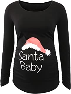 Ecavus Women's Christmas Maternity Tops Clothes Flattering Side Ruched Pregnancy T-Shirt