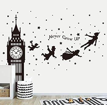 Runtoo Peter Pan Wall Decals Big Ben Clock Never Grow Up Quotes Stars Wall Stickers Baby Nursery Room Kids Bedroom Wall Decor [Black]