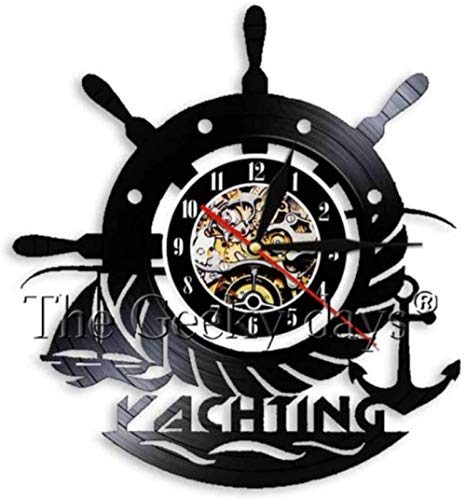 xiaoxong658 Reloj De Pared De Vinilo Reloj De Pared con Disco De Vinilo Decoración del Hogar Música Led Ancla Barco Marina Brújula Lámpara De Pared Regalo Retro Hombre Mujer Dibujos Animados Anime