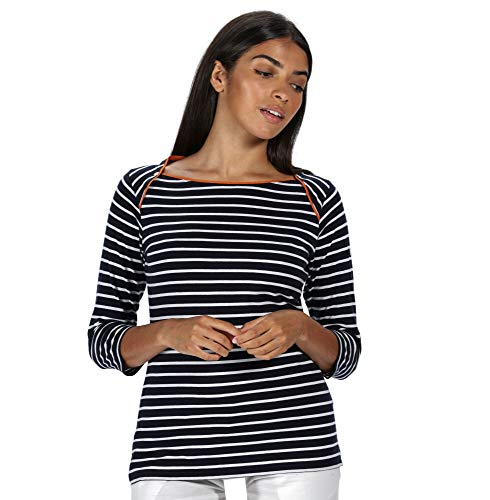Regatta Polina-Jersey Cuello Barco De Algodón Y Manga Larga T-Shirts/Polos/Vests, Mujer, Navy Stripe, 14