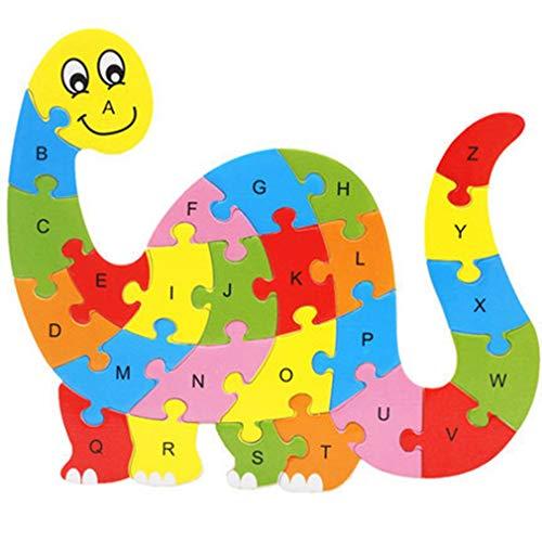 26 stuks houten puzzel dieren alfabet puzzel speelgoed herkenning leren educatieve blokken intelligentie teelt, dinosaurus