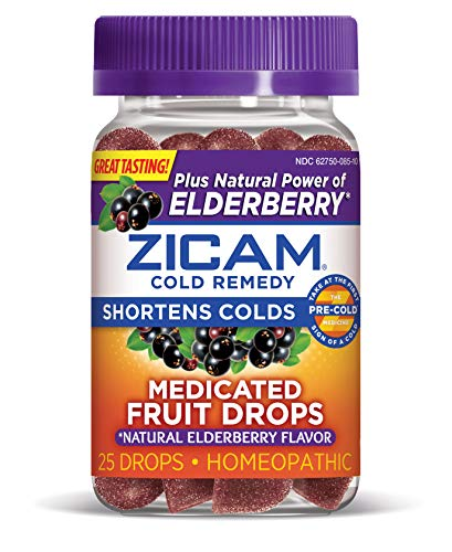 Zicam Cold Remedy Medicated Fruit Drops Homeopathic Medicine for Shortening Colds, Natural Elderberry, 25 Count