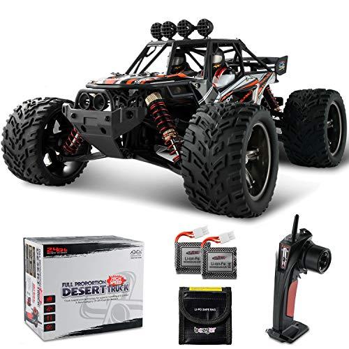 BEZGAR Ferngesteuertes Auto, 1/12 Wasserdichtes Off-Road Monster RC-Auto 38 Km/h Elektrisches Monsterspielzeug mit 2 wiederaufladbaren Batterien Geschenke für Jungen und Erwachsene