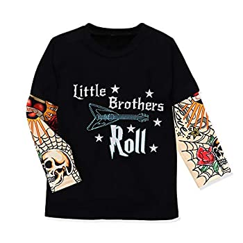 Toddler Baby Boys Fake Tattoo Sleeve T-Shirt Rockabilly Bodysuits Little Brother Rock Letter Print Cotton Clothes 6-12 Months