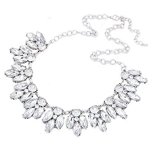 Gemini _ Mall® Halskette, Kristallbesetztes Collier, Halsschmuck für Frauen, silber, Einheitsgröße