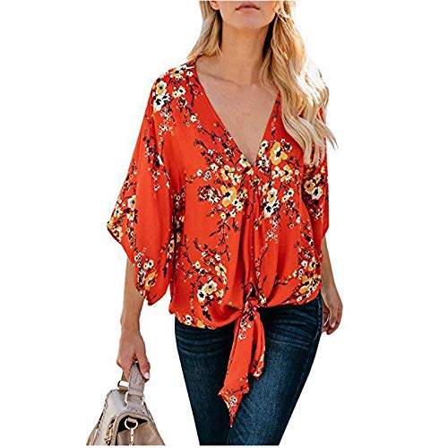 SSMENG Short Sleeve Shirts for Women Floral V Neck Tie Knot Front Blouses Bat Wing Womens Tops 3/4 Sleeve Summer Shirts Orange