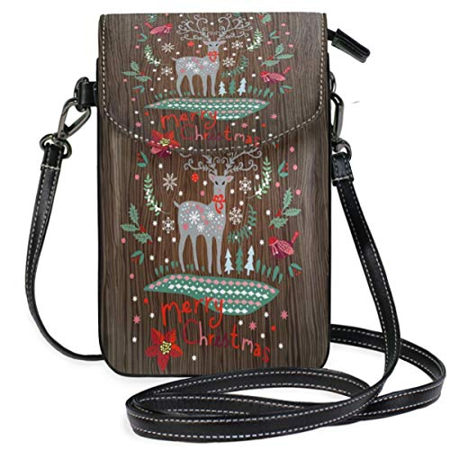 XCNGG Kleine Geldbörse Merry Chirstmas Reindeer Cell Phone Purse Wallet for Women Girl Small Crossbody Purse Bags