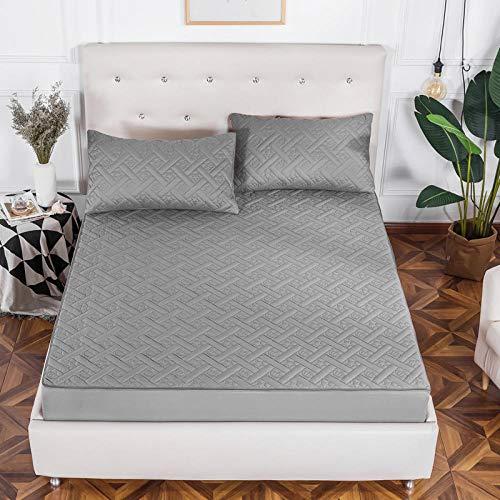 CYYyang Protector de colchón - cubrecolchón Transpirable Espesar la sábana de Cama Todo Incluido-Gris Elegante_1.5 * 2m