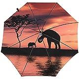Paraguas de Viaje Impreso a Prueba de Viento de Tres Elefantes: toldo Reforzado a Prueba de Viento