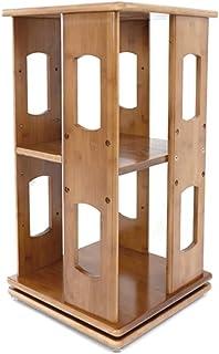 CD de escritorio sostenedor giratorio, sala de juegos Cafetería enmarcada DVD de soporte de exhibición - Escuela Aula Estudiante de bambú estantería ( Color : Wood , Size : 33*33*60.5cm )