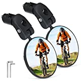 BRGOOD Bike Mirror, 2pcs Bicycle Cycling Rear View Mirrors, Safe Rearview Mirror, Adjustable Handlebar Mounted Plastic Convex Mirror for Mountain Road Bike Bicycle