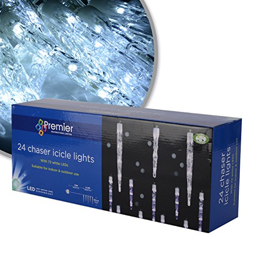 Premier Chasing Led Big Icicle Lights - White, 24