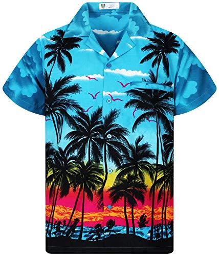 V.H.O. Funky Hawaiihemd, Kurzarm, Beach, türkis, XS