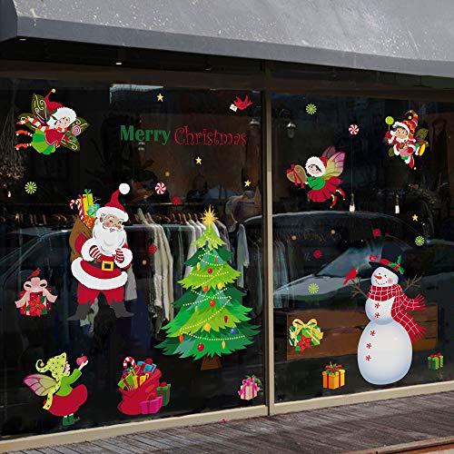 decalmile Grande Pegatinas de Navidad Papá Noel Árbol de Navidad Monigote de Nieve Pegatinas de Pared...
