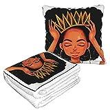 XCNGG Mujeres Negras con una Manta de Almohada de Viaje Crow