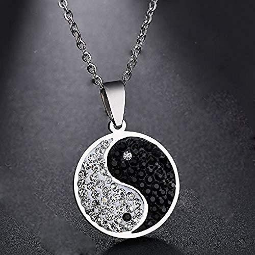 Collar Collar De Diamantes De Imitación De Chismes Colgante Redondo para Hombres Amuleto Yin Yang Cadena De Eslabones Collares De Acero Inoxidable Joyería Masculina