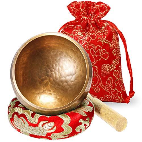 Cuenco tibetano 8cm Set pequeño con madera mazo y sonido cuencos tibetanos Cojín meditación Terapia Respeto Atención