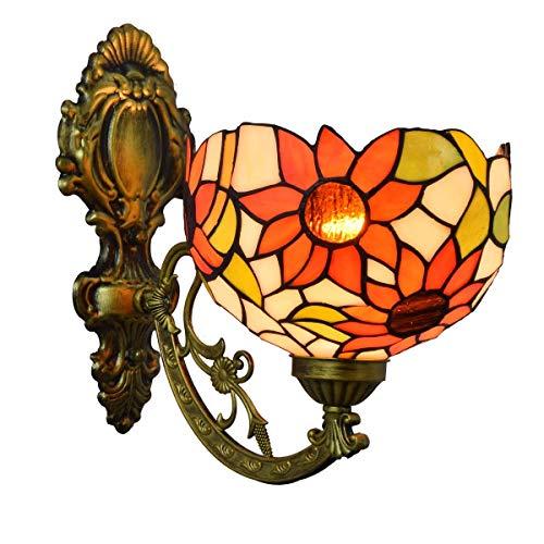 BJLWTQ Lámpara de Pared Decoración británica Stained Glass Espejo Moderno Faros Jardín de Noche la lámpara de Pared del Pasillo Gloria de mañana de una Sola Cabeza de Cristal lámpara de Pared