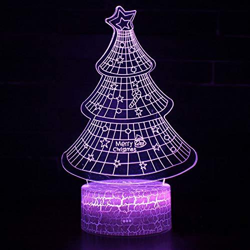 DFDLNL Thème de l'arbre de Noël Lampe 3D veilleuse LED 7 Changement de Couleur Tactile Lampe d'ambiance Cadeau de Noël