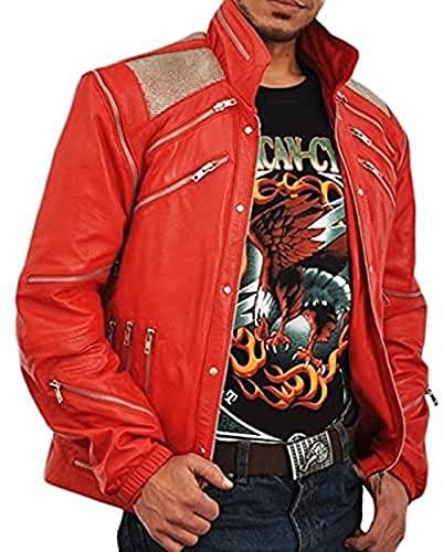 HiFacon Traje de Halloween con estilo vintage rojo Thriller de cuero real chaqueta de Halloween