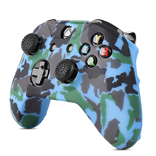 TNP - Juego de funda protectora de gel de silicona para Xbox One S/One X, agarre de goma suave y 4 grandes 4 pequeñas tapas antideslizantes para mando inalámbrico de Microsoft (camuflaje azul)