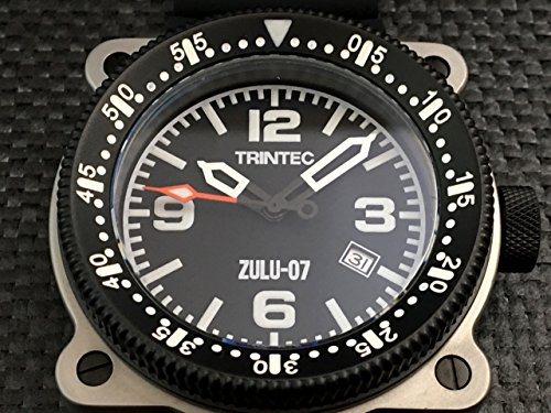 Trintec Aviation ZULU-07 PRO Men's Navigator Stainless Steel Watch with Rubber