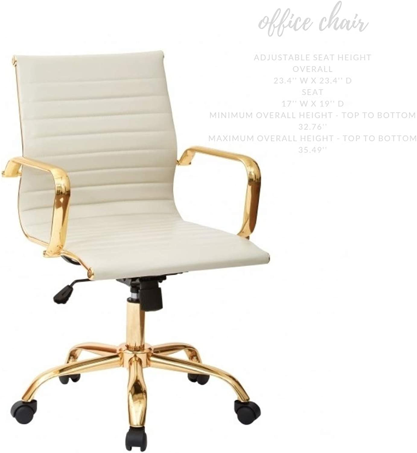 Take Me Home Furniture Toni Office Chair Low Back in gold with White seat, Adjustable Height, Swivel Office Chair
