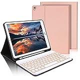 AVNICUD Tastatur Hülle für iPad 10.2 (8. Gen/7. Gen) 2019/2020,iPad Air (3. Gen)/Pro 10.5 Hülle,Bluetooth QWERTZ Beleuchtete Kabellose Abnehmbarer Tastatur mit Schützhülle/Pencil Halter