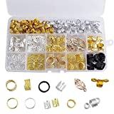 200 piezas Pelo de Aluminio Anillos, Bobina de Aluminio para Cabello Dreadlocks Beads Metal Puños para el Cabello Anillos de Trenza para el cabello, accesorios, colores variados
