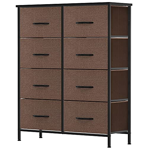 YITAHOME Dresser with 8 Drawers - Fabric Storage Tower, Organizer Unit for Bedroom, Living Room, Hallway, Closets & Nursery - Sturdy Steel Frame, Wooden Top & Easy Pull Fabric Bins (Coffee)