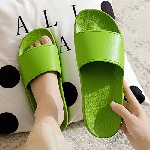 YYFF Comodas Piel Sandalias,Sandali estivi per la casa,pantofole da casa in plastica-Green_40,Chanclas Suaves y cómodas para Hombre